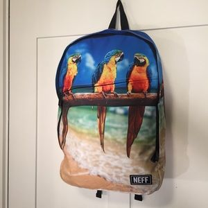 NEFF daily backpack parrot tropical graphic NWT